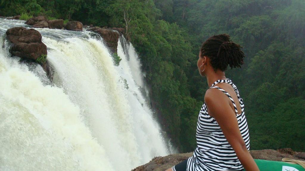 Sonia up close at Victoria Falls